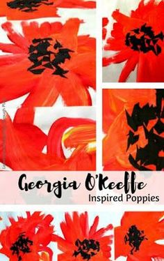 Georgia O'Keeffe Inspired Poppies Remembrance Day for Toddlers and Preschoolers Poppy Flower Painting, Flower Paintings, Georgia O'keefe Art, Montessori Art, Montessori Elementary, Fall Art Projects, Clay Projects, Remembrance Day Poppy, Poppy Craft