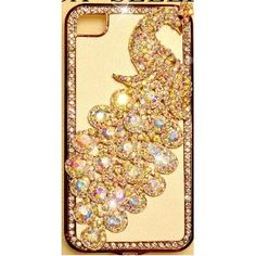 PEACOCK White Leather iPhone 4 & iPhone 4S Case Bling HIGH QUALITY Crystals