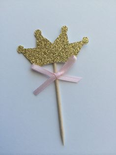 20 Gold Glitter TIARA Cupcake Toppers with Pink Bow.  1st Birthday, Birthday Cupcake Topper, Pink and Gold Party.