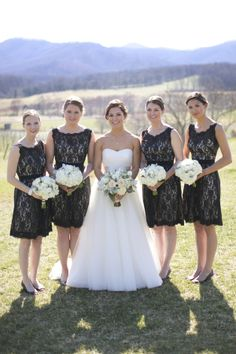 Short Black Lace Bridesmaids Dresses | photography by http://kristengardner.com | floral design by http://www.patsfloraldesigns.com/