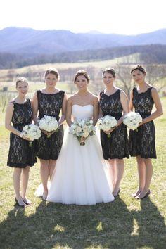 A-line V-neck Short/Mini Black Lace Bridesmaid Dresses(BD306 ...
