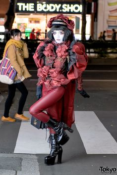 Japanese Shironuri Artist Minori Wearing Red Fashion in Harajuku