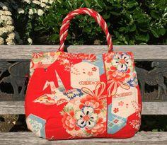 Japanese kimono fabric tote bag