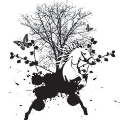 M10 Brush Vector: This is a neat illustration of nature. The horse's head comes out of paint splatters. The tree is placed nicely on top and almost in the background. The black and white color offers a nice look. It almost looks symmetrical, but it isn't completely.