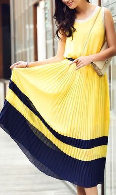 f4af41df0eee Round collar colourblocked pleated dress 5936 Yellow very nice dress