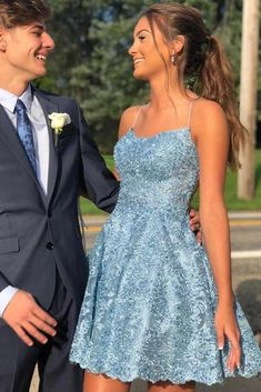 Charming Sky Blue A-Linie Lace Spaghetti Straps Homecoming Kleider, Short Prom Dr . - Charming Sky Blue A-Linie Lace Spaghetti Straps Homecoming Kleider, Short Prom Dress, – Simidress Kleider Source by selinalindert - Cute Homecoming Dresses, Hoco Dresses, Event Dresses, Cute Dresses, Dress Prom, Summer Dresses, Wedding Dresses, Formal Dance Dresses, Strapless Dress Formal