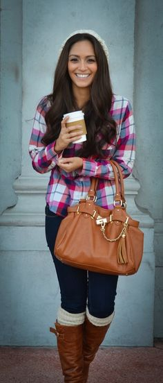 Fall Outfit With Beanie and Long Boots