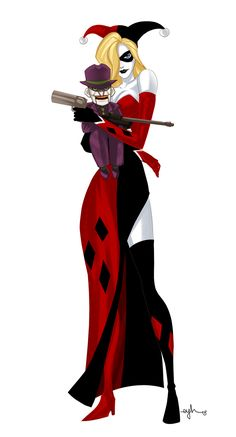 Ventriloquist Harley carries a Jokerface doll in these Batman villain mashups~~~Totes love her dress!