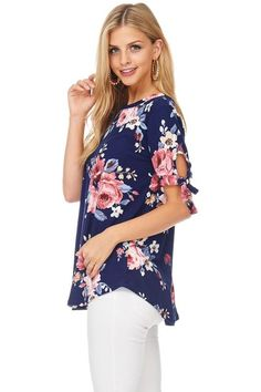 Short sleeve tie detail floral tunic
