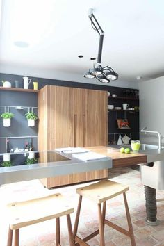 bulthaup b2 with b3 wall panels and Russell Pinch Stools www.bulthaupsf.com #kitchen #interior #design