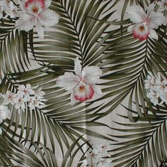 Hawaiian Bed Scarf Palm fronds and Orchids Tropical Shower Curtains, Tropical Bedding, Tropical Fabric, Beach Bedding, Bed Scarf, Polynesian Designs, Tropical Home Decor, Palm Fronds, Beach Fun