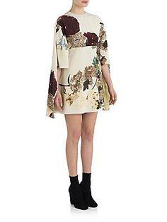 Valentino Silk Cape Dress - Off White