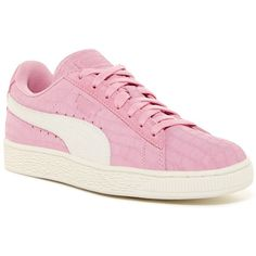 PUMA Suede Classic Croc Embossed Sneaker ($47) ❤ liked on Polyvore featuring shoes, sneakers, pink, crocodile shoes, puma sneakers, laced shoes, suede sneakers and round toe sneakers