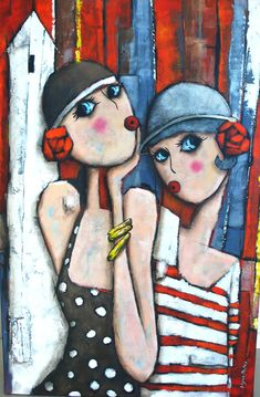 Abstract Art Paintings 682787993482921591 - Collection Les Baigneuses – Virginie Matz Source by Abstract Face Art, Painting People, Naive Art, Whimsical Art, Figurative Art, Painting & Drawing, Watercolor Art, Folk Art, Art Drawings