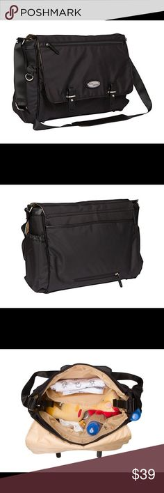 BooPeeDo Ballistic Nylon Diaper Bag Combines the classic look of a Messenger Bag and melds it with all the functionality of a Diaper Bag Bag features magnetic flap closure as well as a zip closure to keep everything completely secure. The interior has 1 RFID blocking wallet pocket, along with too many other pockets to mention them all Includes 1 wet bag, Stroller hooks, and 1 cushioned changing pad Diaper Bag is made of Ballistic Nylon, making it a breeze to clean in one simple swipe…