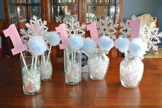 Center pieces for a Winter Onederland theme by WinterOnederland