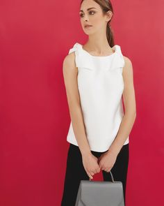 BOW SHOULDER SEMI FITTED TOP - White | Tops & T-shirts | Ted Baker UK