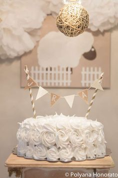 A gorgeous little lamb baptism celebration cake! See more party ideas at CatchMyParty.com