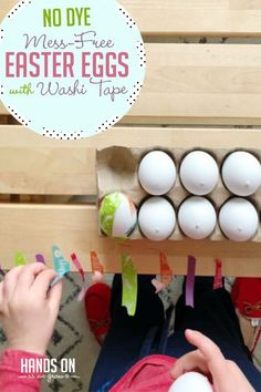 You'll love this mess-free activity! Make no dye Easter Eggs with a simple Washi tape tutorial!