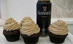 Guinness cupcakes w vanilla buttercream frosting. These have more promise I think, you melt all the chocolates and sugars together yum. Guinness Cupcakes, Beer Cupcakes, Yummy Cupcakes, Cupcake Cakes, Party Cupcakes, Cup Cakes, Flavored Cupcakes, Apple Cupcakes, Frosting Recipes
