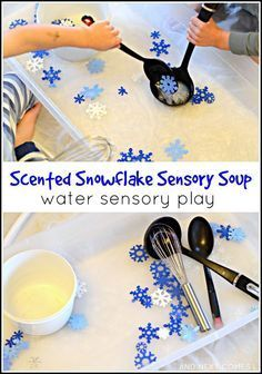 Brilliant Christmas activities for kids - Scented snowflake water sensory play - great fine motor fun for toddlers and preschoolers from And Next Comes L Sensory Table, Sensory Bins, Sensory Activities, Sensory Play, Christmas Activities For Preschoolers, Infant Sensory, Winter Activities For Toddlers, Winter Activities For Kids, Indoor Activities