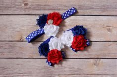 SET red white blue/ blue polka dot Sandals by PicturePerfectDiva, $5.99