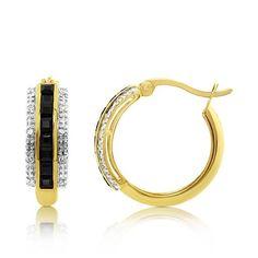 9ct Yellow Gold   Diamond & Sapphire Hoop Earrings  TDW 0.10ct