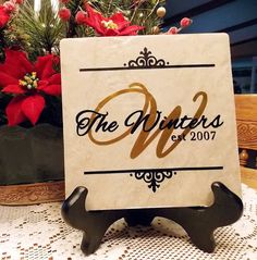 Ceramic Tile Personalized With Vinyl Lettering Vinyl Lettering Projects, Vinyl Projects, Tile Projects, Craft Projects, Craft Ideas, Diy Crafts For Gifts, Fun Crafts, Ceramic Tile Crafts, Coaster Crafts