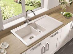 AstraCast Equinox 1.5 Keramik-Spüle Einbauspüle Weiß Glänzend 980 x 520 mm - Unterschrank ab 60cm - Keramikspülen - Spülen und Spülbecken - Kitchcom