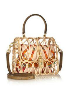 DOLCE & GABBANA Leather-Trimmed Rattan Shoulder Bag