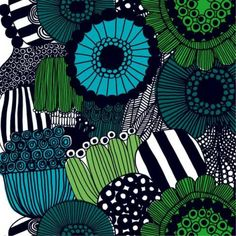 color scheme for living rm Marimekko 'Siirtolapuutarha' fabric wall art in blue, green and teal Marimekko, Art Mural Tissu, Fabric Wall Art, Motif Floral, Room Colors, Color Inspiration, Printed Cotton, Fabric Design, Printing On Fabric