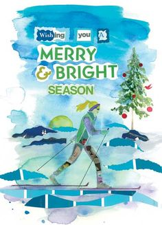 """cross country """"Merry & Bright"""" from chiquelixo.com (a little Idaho card company)"""