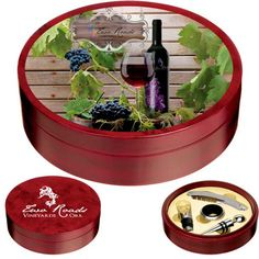 """You'll always present a vintage promotion with the Tuscany wine set! This wood wine set includes 1 wine ring, 1 corkscrew, 1 wine bottle stopper and 1 wine pourer. With each piece made of a naturally occurring material, slight variations may be present. Distribute it at your next annual meeting or party as a great """"thank you"""" gift. Order today!"""
