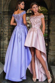 bb50d34e58a  145.50  Fascinating Tulle   Satin Off-the-shoulder Neckline A-line Hi-lo  Prom Dresses With Lace Appliques   Belt