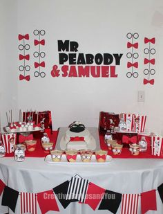 Red and black dessert table at a Mr. Peabody and Sherman birthday party! See more party ideas at CatchMyParty.com!