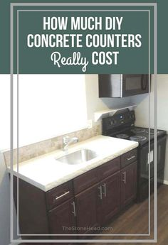 We've done a few concrete countertops! Here's how much they really cost and mistakes to avoid! Kitchen Sets For Kids, Stained Kitchen Cabinets, Diy Concrete Countertops, Home Management, Kitchen Decor, Kitchen Design, Home Renovation, Mistakes, Kitchen Remodel