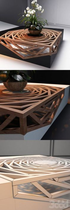 Gorgeous Design Wood Coffee Table Architecture + Interiors Design Wood Coffee Tables, Coffee Table Plans, Unique Coffee Table, Creative Coffee, Wood Table Design, Coffee Table Design, Cool Tables, Side Tables, Architecture Interior Design