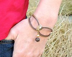 Zipper Bracelet - dark brown and brass - adjustable - for teens and adults - eco-friendly/upcycled jewelry- under 20.00