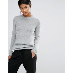 Y.A.S Maise Longline Jumper ($64) ❤ liked on Polyvore featuring tops, sweaters, grey, jumpers sweaters, long line sweater, crew top, grey crewneck sweater and crew neck sweaters