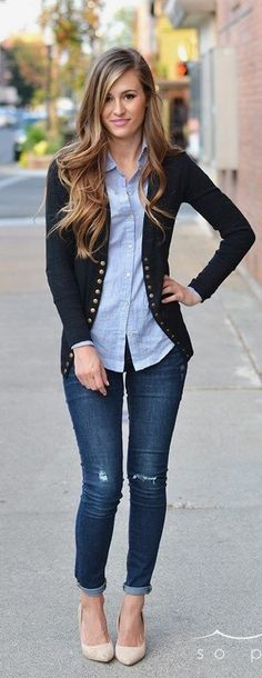 Dark jeans, lighter chambray shirt and cardigan.