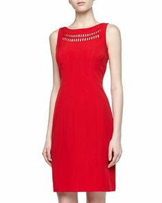 Yoke Stretch Bias-Cut Dress, Red by Chetta B at Neiman Marcus Last Call.