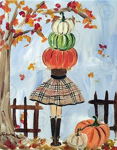 Pumpkin Girl Painting by Timree! #hellofall #artist #timree