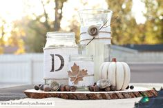 Love, love, love this idea! I just don't like the acorns; I think I would replace them by sprinkling fake leaves around the jars and pumpkin.
