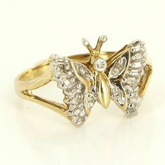 Estate 10 Karat Yellow Gold Diamond Butterfly Cocktail Ring Fine Jewelry 7 1/4 $295