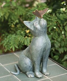Cat  statue  with Butterfly-ok, it's confirmed, I am on the lookout for a cat statue for my garden