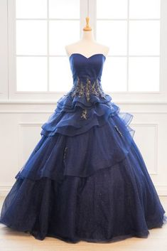 Navy Blue Tulle Customized Layered Long Formal Prom Dress With Applique Senior Prom Dresses, Cute Prom Dresses, Pretty Dresses, Beautiful Dresses, Ball Gowns Prom, Ball Dresses, Evie's Dresses, Partys, Custom Dresses