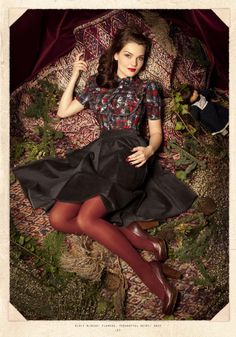 burgundy tights - top trends - Lilly is Love Mode D'inspiration Vintage, Retro Mode, Look Vintage, Vintage Inspired Fashion, Retro Fashion, Vintage Fashion, Womens Fashion, Gypsy Fashion, Red Tights