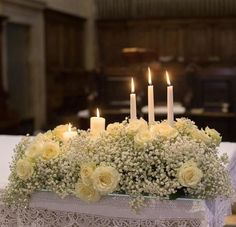 Fioreria Oltre Wedding Ceremony Altar Decoration Church Wedding Flowers White Roses And Baby's Breath, Candles Church Wedding Flowers, Altar Flowers, Church Flower Arrangements, Church Wedding Decorations, Wedding Altars, Altar Decorations, White Wedding Flowers, Wedding Flower Arrangements, Wedding Centerpieces