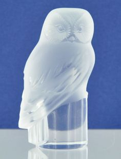 Lalique Crystal Owl Paperweight