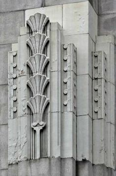Egyptian Papyrus plant. It wasn't always shown stacked like this, but it does create a great effect. Stone work detail from a court house.